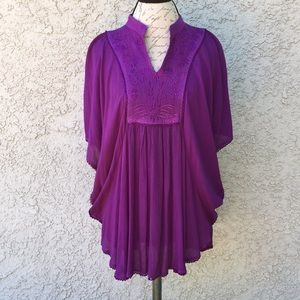 Vintage Purple Floral Embroidered Tunic Blouse 👚